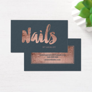 Nails chic rose gold typography charcoal business card