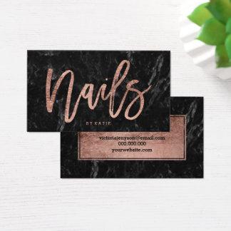 Nails elegant rose gold typography black marble business card
