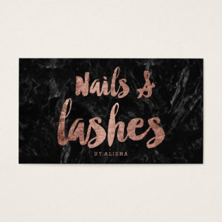 Nails Lashes faux rose gold script black marble Business Card