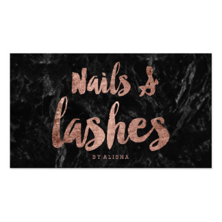 Nails Lashes faux rose gold script black marble Pack Of Standard Business Cards