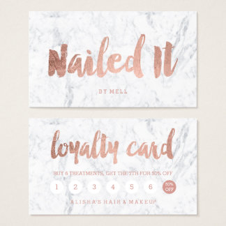 Nails loyalty modern rose gold typography marble business card
