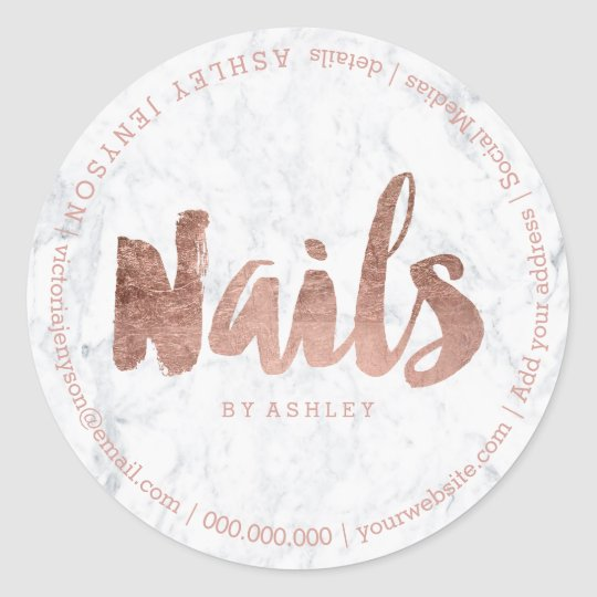 Nails modern faux rose gold typography marble classic