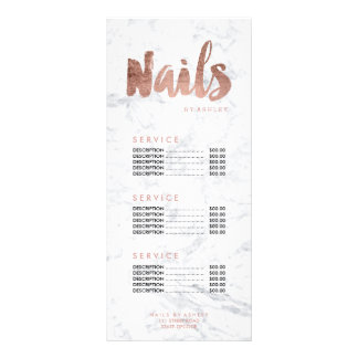 Nails modern gold typography marble price list personalised rack card