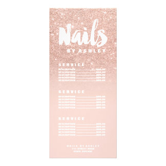 Nails modern typography blush rose gold price list personalised rack card