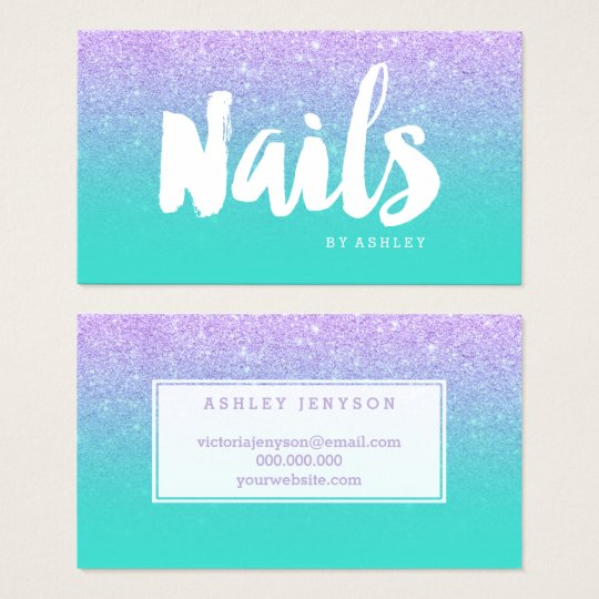 Nails modern typography lavender glitter turquoise business card