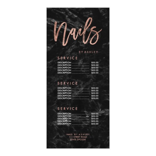 Nails rose gold script black marble price list
