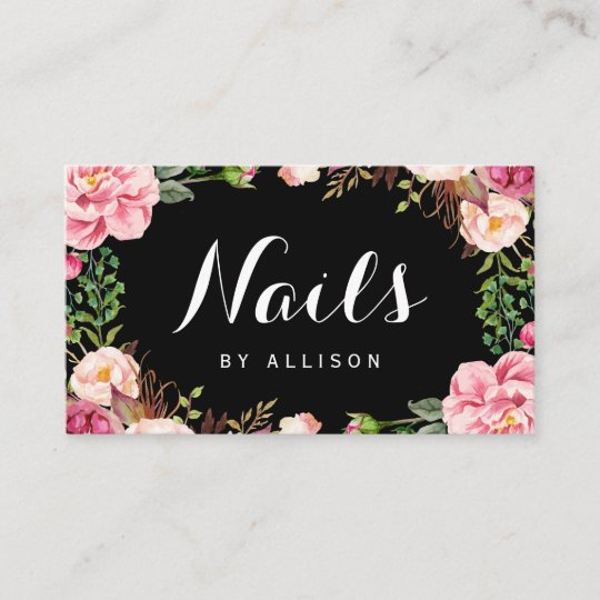 Nails salon nail technician romantic floral wrap business card nails salon nail technician romantic floral wrap business card colourmoves