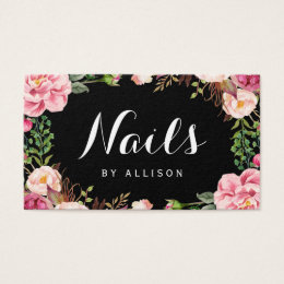 Nail technician business cards business card printing zazzle uk nails salon nail technician romantic floral wrap business card reheart Gallery