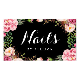 Nails Salon Nail Technician Romantic Floral Wrap Pack Of Standard Business Cards