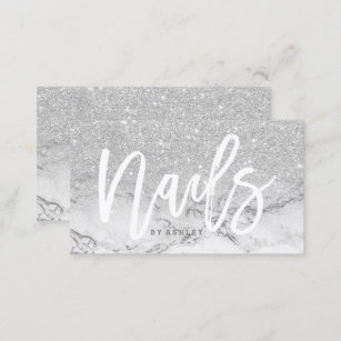Nail business cards business card printing zazzle uk nails typography faux silver glitter marble business card colourmoves