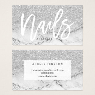 Nails typography faux silver glitter marble business card