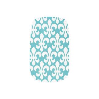 Nails White Fleur De Lis on a teal background Minx Nail Art
