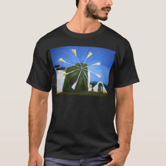 Naive Painting of a Windmill Black Adult Tee Shirt