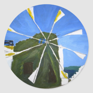 Naive Painting of a Windmill Stickers
