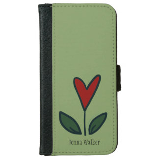 Naive Red Flower Heart with Leaves and Name N001 iPhone 6 Wallet Case