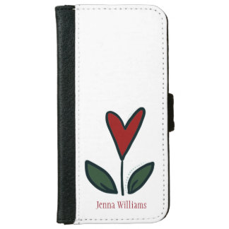 Naive Red Flower Heart with Leaves and Name N002 iPhone 6 Wallet Case