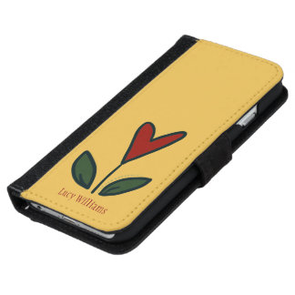 Naive Red Flower Heart with Leaves and Name N003 iPhone 6 Wallet Case