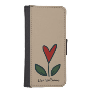 Naive Red Flower Heart with Leaves N004 Sand Phone Wallet Cases