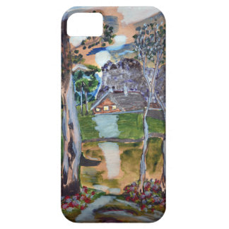 naive watercolor painting forest nature house land iPhone 5 cover