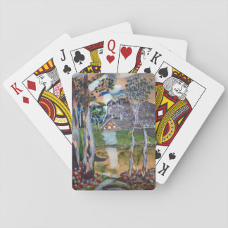 naive watercolor painting forest nature house land playing cards