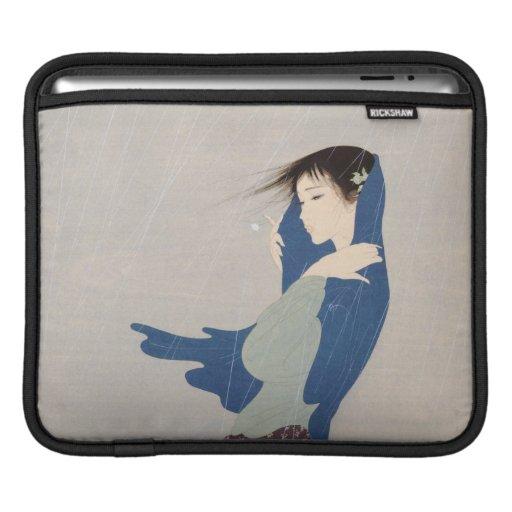 Nakajima Kiyoshi Fine Rain japanese woman art Sleeve For iPads