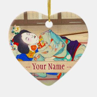 Nakazawa Hiromitsu Inn at Gion japan japanese lady Ceramic Heart Decoration