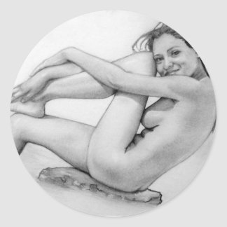 Naked woman bathes classic round sticker