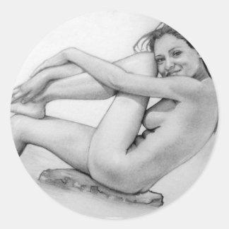 Naked woman bathes round sticker
