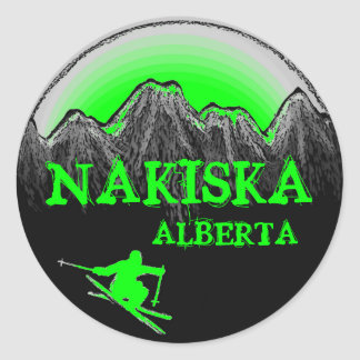 Nakiska Alberta Canada green skier stickers
