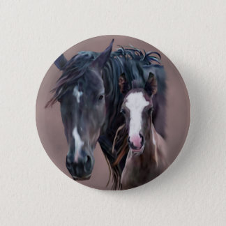 Nakota Mare and Foal 6 Cm Round Badge