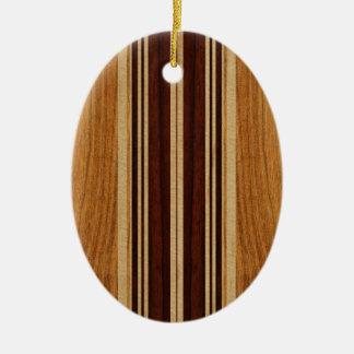 Nalu Lua Faux Koa Wood Surfboard Christmas Ornament