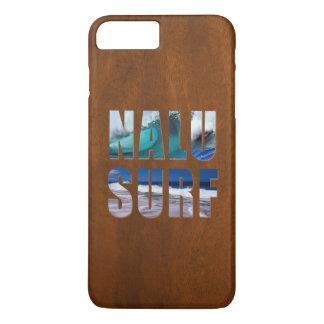 Nalu-Surf Hawaiian Wave Faux Koa Wood Surfboard iPhone 8 Plus/7 Plus Case