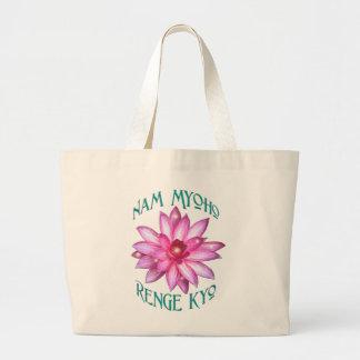 Nam Myoho Renge Kyo with Lotus Flower Design Canvas Bags