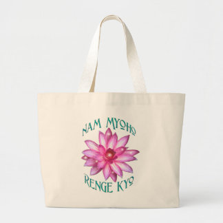 Nam Myoho Renge Kyo with Lotus Flower Design Jumbo Tote Bag
