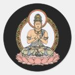 Namaskara Mudra Buddha Round Stickers