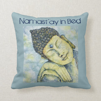 Namast'ay In Bed Buddha Watercolor Art Pillow