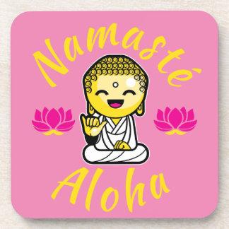 Namaste Aloha hand sign Buddha Humour Beverage Coaster
