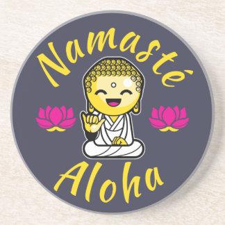 Namaste Aloha hand sign Buddha Humour Drink Coaster