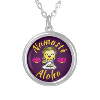 Namaste Aloha hand sign Buddha Humour Silver Plated Necklace