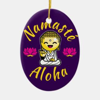 Namaste Aloha hand sign smiling Buddha Humour Ceramic Oval Decoration