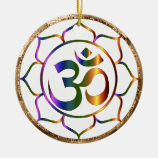 Namaste Aum (Om) & Lotus with Gold Bronze Border Christmas Ornament