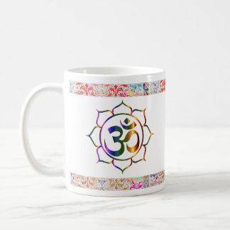 Namaste Aum Om Lotus with Rainbow Vintage Border Coffee Mug