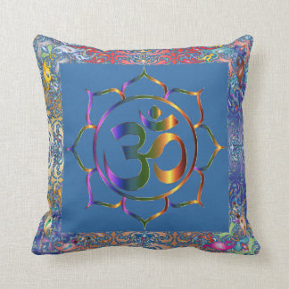 Namaste Aum Om & Lotus with Rainbow Vintage Border Cushion