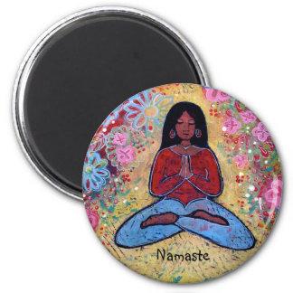 Namaste Black Haired Yoga Girl Magnet