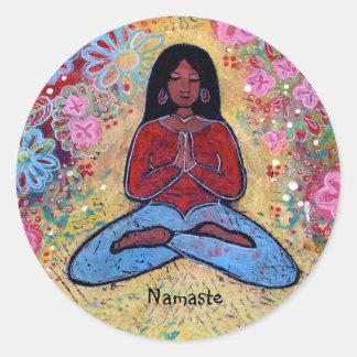 Namaste Black Haired Yoga Girl Sticker
