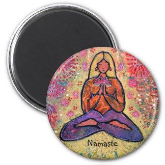 Namaste Blonde Haired Yoga Girl Magnet