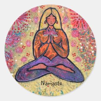 Namaste Blonde Haired Yoga Girl Sticker