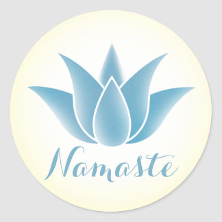 Namaste Blue Lotus Flower Yoga Classic Round Sticker