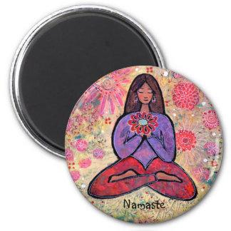 Namaste Brown Haired Yoga Girl Magnet