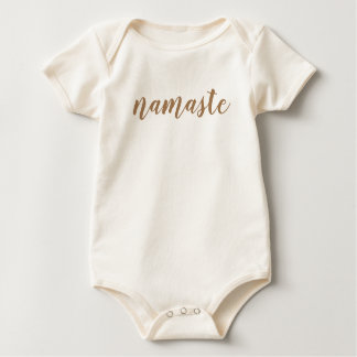 Namaste Brown Minimalist Simple Text Only Baby Bodysuit